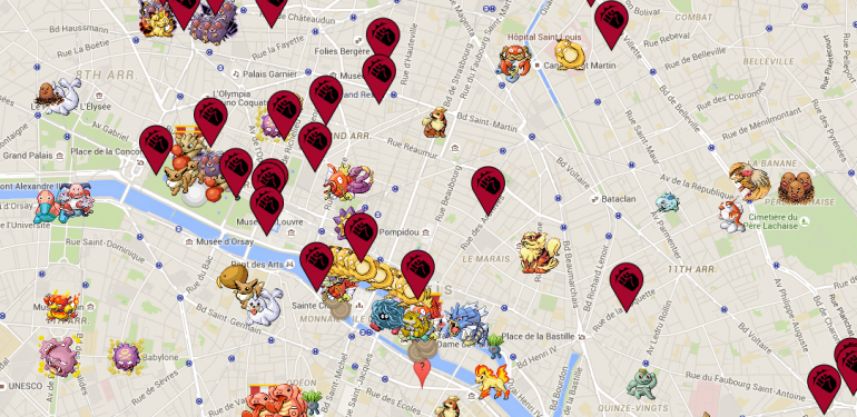 Une carte interactive Pokémon GO