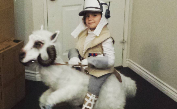 Luke Skywalker chevauchant un Tauntaun